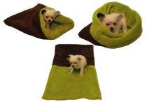 Marysa pelíšek 3v1 pro štěňátka/koťátka, tmavě hnědý/světle zelený