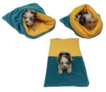 Marysa pelíšek 3v1 pro štěňátka/koťátka, tmavě zelený/žlutý