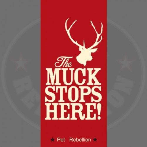 PET REBELLION Běhoun Muck stops here!, červený 45x100cm