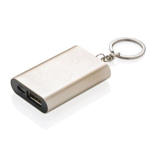Kompaktní powerbanka 1000 mAh na klíče, Loooqs, zlatá